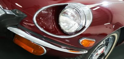 Jaguar E-Type 1972 headlight closeup view
