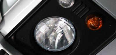 Land Rover Defender single cab 2016 headlight closeup view