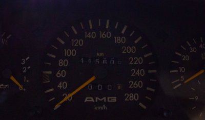 Speedometer of the Mercedes Benz 3,4 AMG CE300 1991