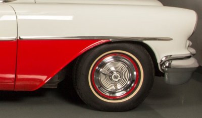 Oldsmobile 88 1956 front wheel closeup view